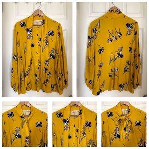 JustFab floral tie-neck blouse